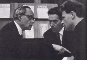 Hans Küng y Karl Rahner disertando en pleno Concilio Vaticano II